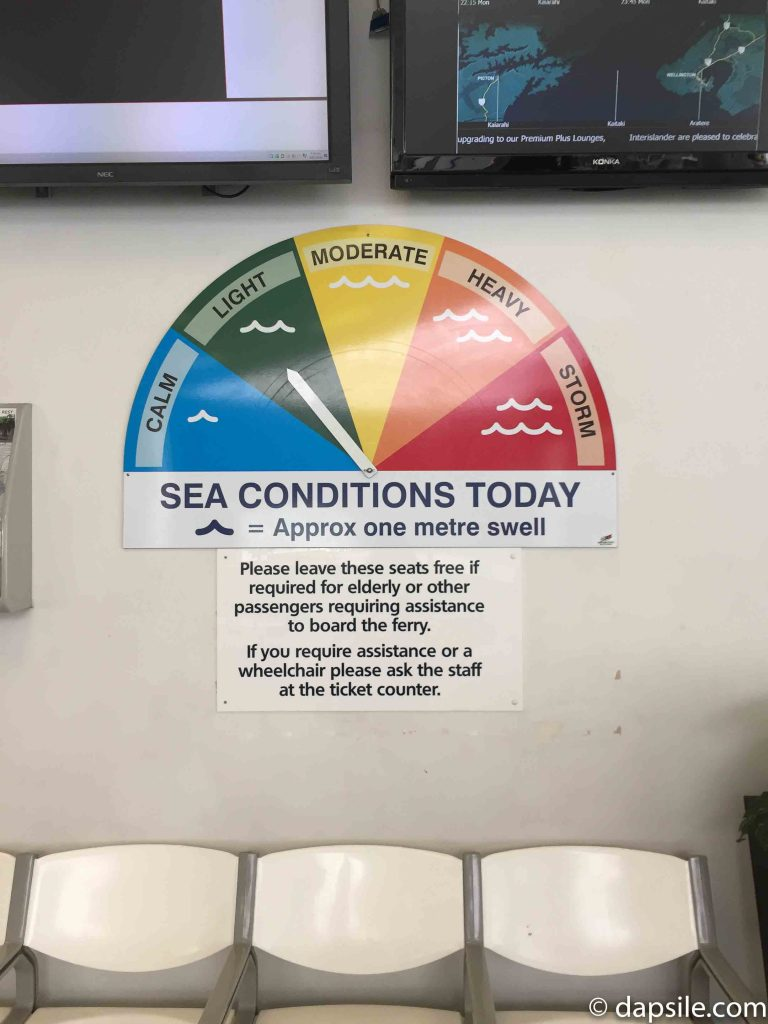 NZ Ferry Sea Conditions Today Chart set at Light