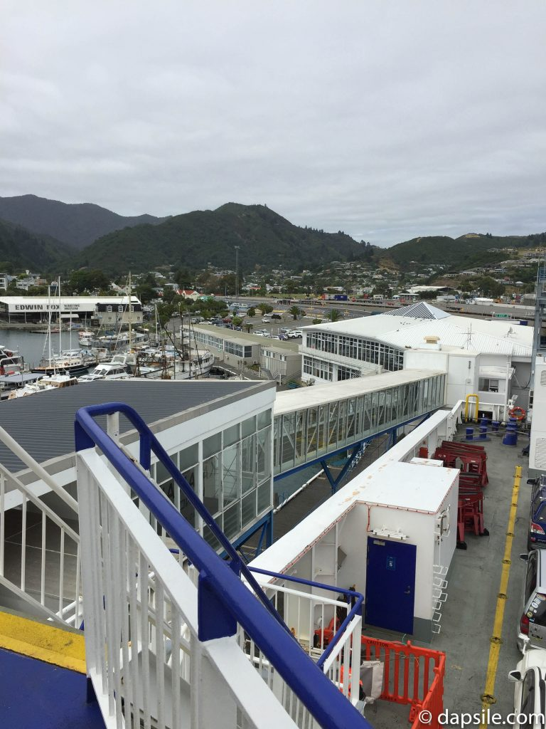 View of Ferry Terminal and part of Picton from the Ferry when driving from Christchurch to Wellington