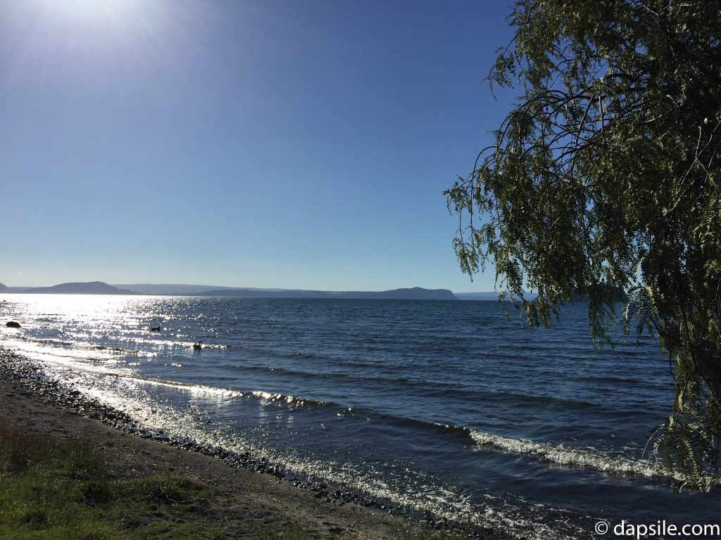 View of Lake Taupo from west coast waters edge