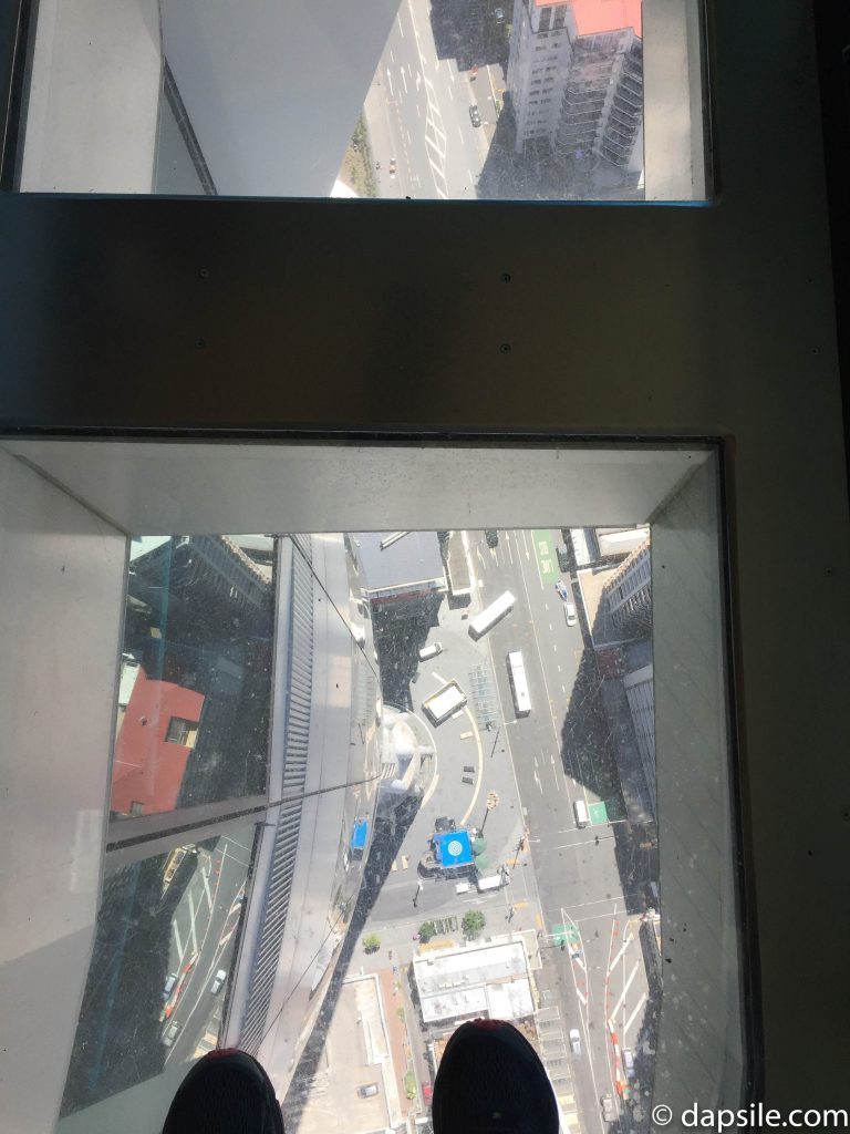 Looking Through the Glass Floor in Sky Tower