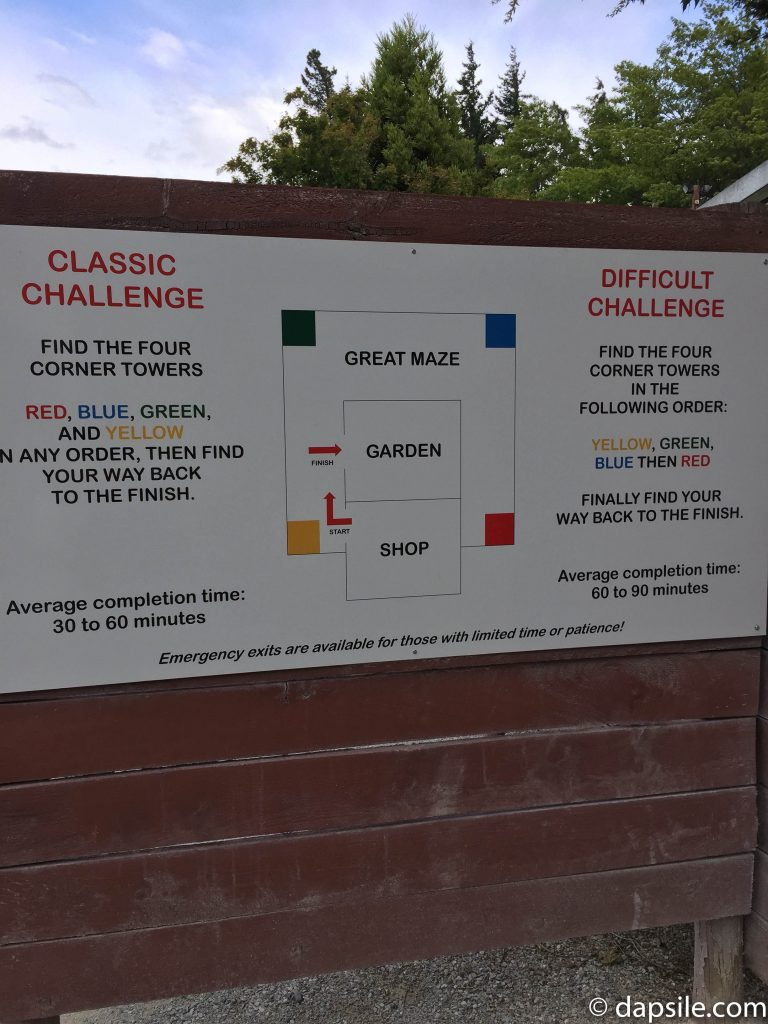 Puzzling World's Maze Challenge - sign describing both the Classic and the Difficult