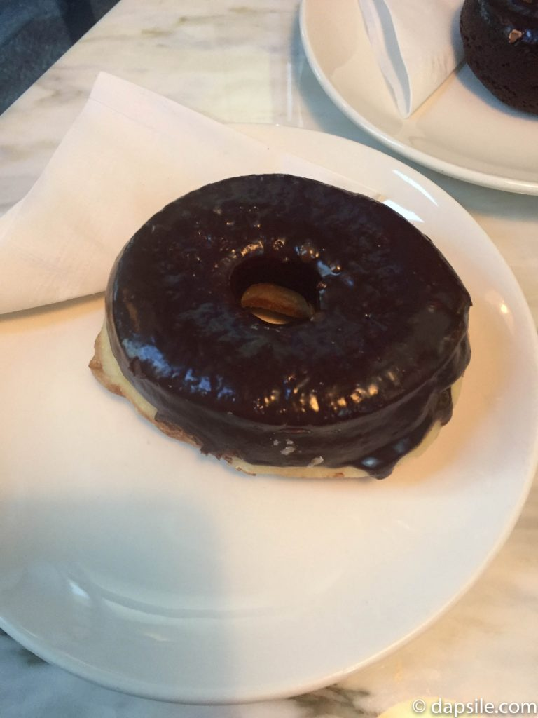 The Dark Chocolate Glazed Doughnut at Lucky's Doughnuts